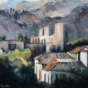 Granada, La Alhambra : les tours de l'Alcazaba, huile sur bois