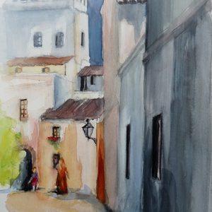 Sevilla, dans les ruelles de Santa Cruz, aquarelle.