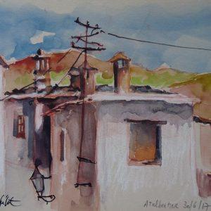 La Alpujarra, Atalbeitar : sur les toits, aquarelle