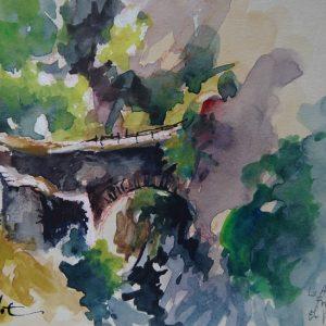La Alpujarra, La Taha : le pont romain de Ferreirola, aquarelle