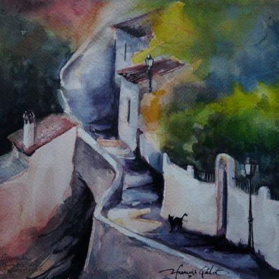 Granada, ruelle du Sacromonte, aquarelle