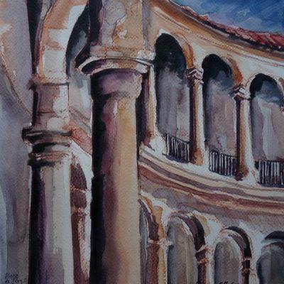 Ronda, légendaire plaza de toros, aquarelle