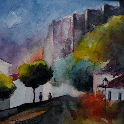 Grenade, au pied des remparts, aquarelle