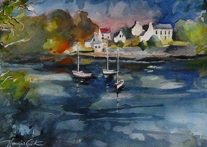 Rivière du Bono, aquarelle et lavis