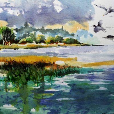 L'étang de Feins, aquarelle et lavis