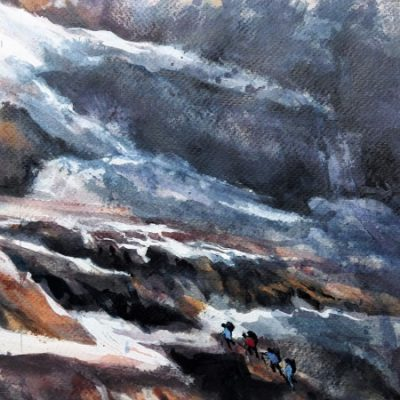 Ascension du Mont Ruan, aquarelle