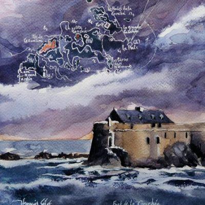 Le fort de la Conchée, aquarelle (20 x 20 cm)