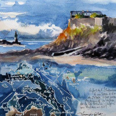 L'Île Harbour, aquarelle (20 x 20 cm)