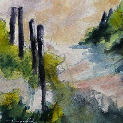 Vers la plage, aquarelle (20 x 20 cm)